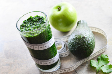 Healthy smoothie. Avocado, parsley, apple, spinach.