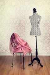 vintage dress form pink fabric