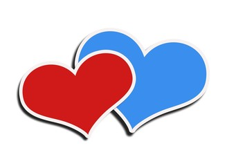 blue and red heart on a white background