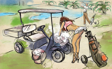 Golf, washing cart - An hand drawn and painted illustration