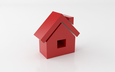 3d house icon over white background