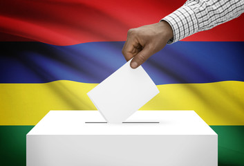 Ballot box with national flag on background - Mauritius