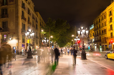 La Rambla street at night in Barcelona. Spain