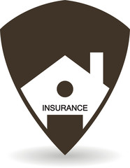 House insurance shield icon in black color isolated on white