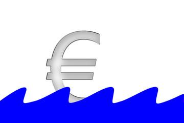 Euro Symbol schwimmt auf Wasser