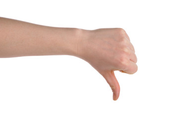 hand showing thumb down isolated over white