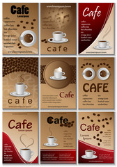Cafe Placard Template Set - Vector Illustration