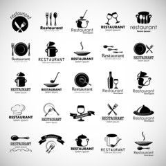 Restaurant Icons Set - Isolated On Gray Background - Vector Illustration, Graphic Design, Editable For Your Design