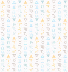 Seamless pattern with Astrological Signs of Zodiac.