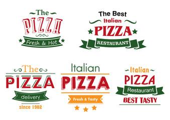 Italian pizza colorful labels