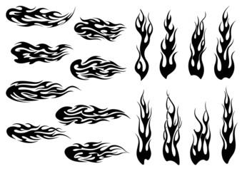 Tribal black fire flames tattoo design