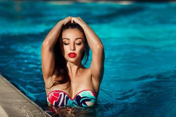 Beautiful girl bikini vacation woman pool beach