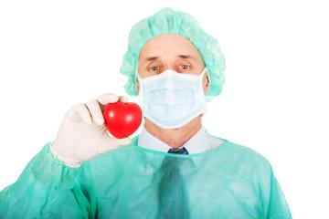 Male doctor holding heart model