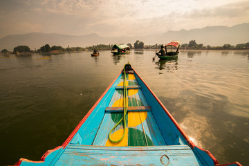 Boats in Lake Dal Kashmir India