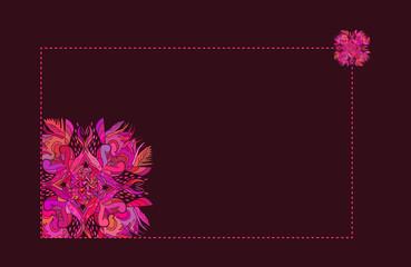 a dark-violet floral ornament frame