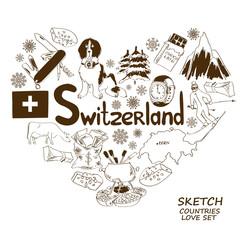 Symbols of Switzerland in heart shape concept