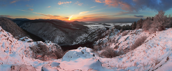 Fotobehang Lichtroze Slovakia country landscape panorama at winter