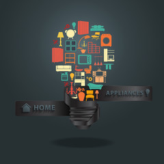 Home appliances icons with creative light bulb idea