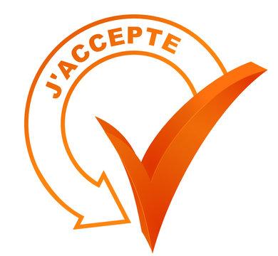 j'accepte sur symbole validé orange