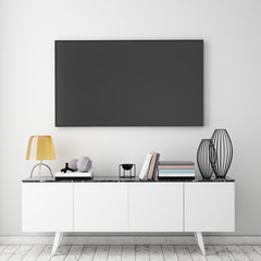 mock up tv screen with loft interior background, 3D render