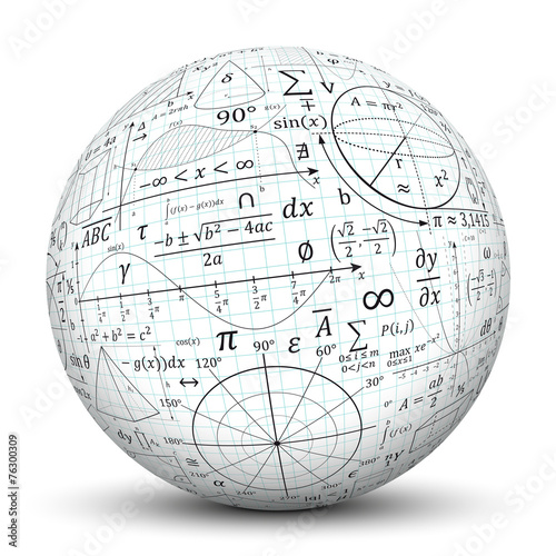 Wall mural Kugel, Mathematik, Icon, Symbol, Math, Sphere, 3D, Formeln, Uni