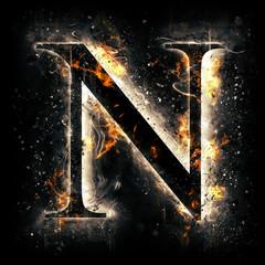 Fire alphabet. Letter N.