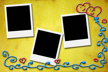 Three blank instant photo frames for lovers