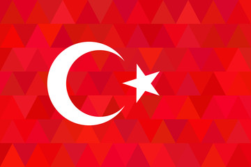 Turkey flag on unusual red triangles background. Original