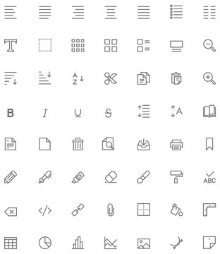 Text editing icon set