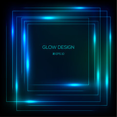 Vector tech design glowing frame
