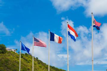International Flags in Caribbean