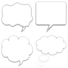 Set of four large speech bubbles