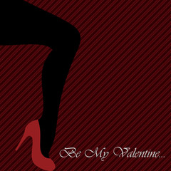 Valentine's card with women's leg