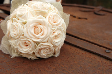Beautiful bridal bouquet made of white roses
