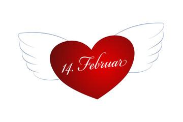 Flügelherz 14. Februar - Illustration