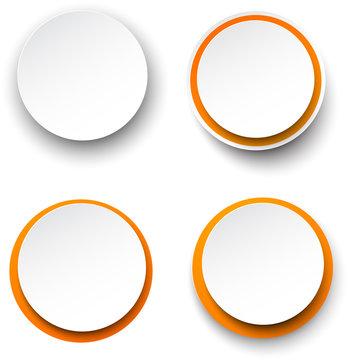 Paper white-orange round speech bubbles.