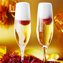 two glass with sparkling champagne