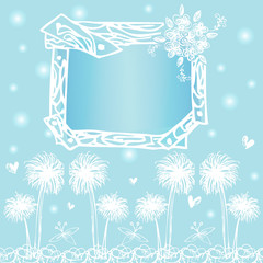 frame card designs on free hand drawing vector on light blue bac