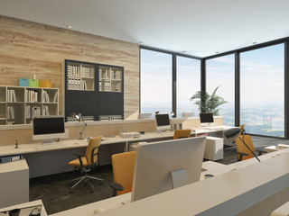 Modern Office with Work Stations in high rise