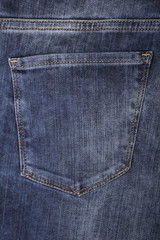 Close-up of a jeans pocket