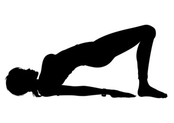 Silhouette Girl in the Yoga Bridge Pose (Setu Bandhasana)