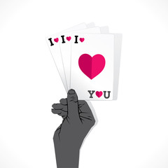 i love you playing car or valentine day card design vector