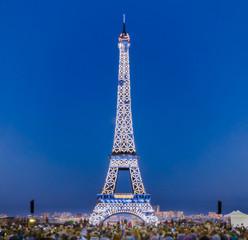 Eiffel tower lighted