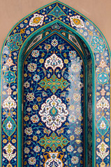 Blue Islamic mosaic tiles in mosque, Muscat, Oman