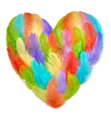 Valentines Day. Heart shaped made of colorful feathers