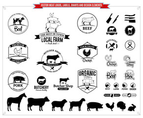 Vector meat logos, labels, charts and design elements