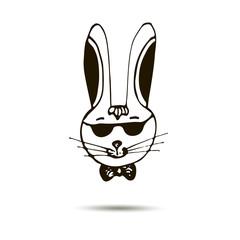 Rabbit hipster hand drawn vector illustration