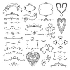 Ornate frames and hearts elements
