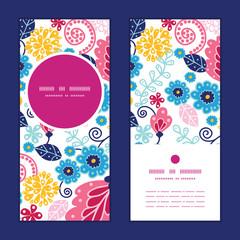 Vector fairytale flowers vertical round frame pattern invitation