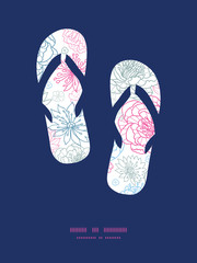 Vector gray and pink lineart florals flip flops silhouettes